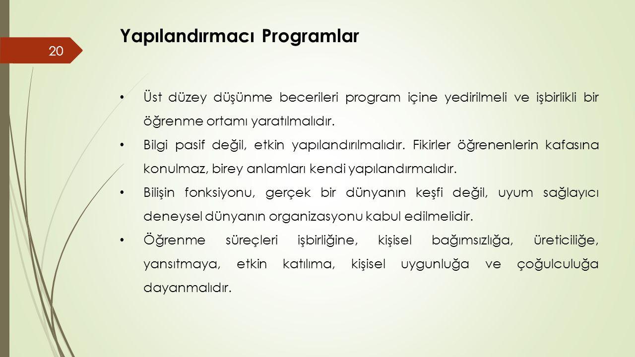 Yapılandırmacı Programlar