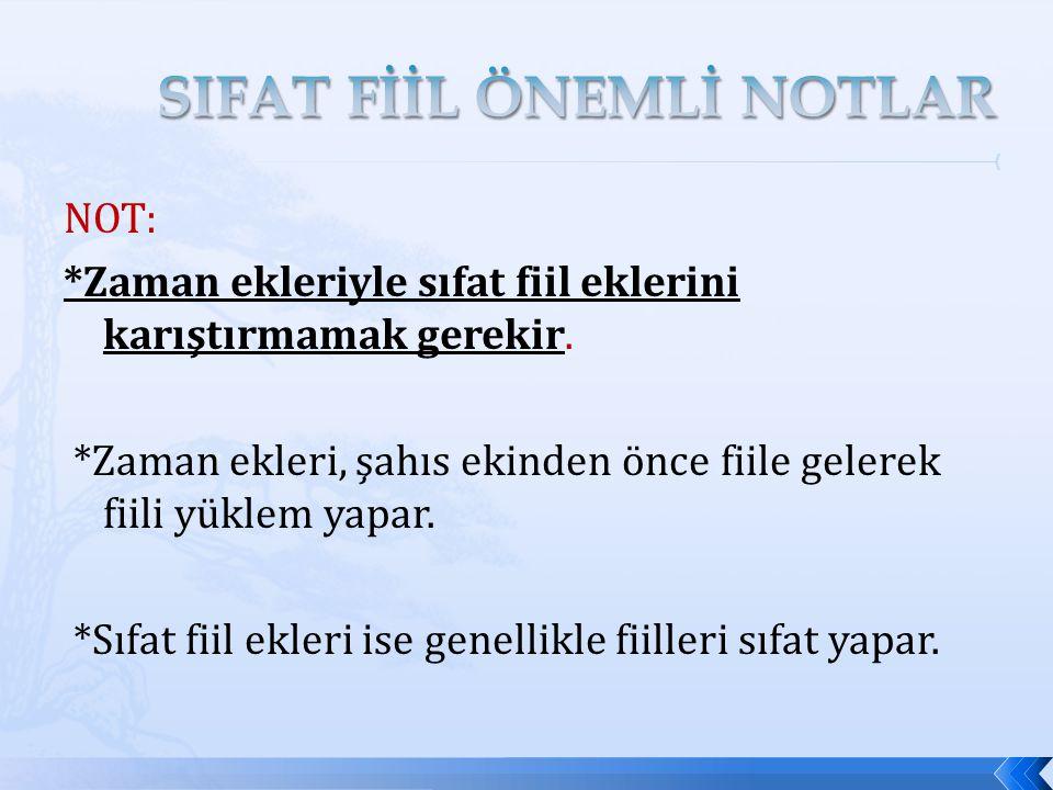 SIFAT FİİL ÖNEMLİ NOTLAR