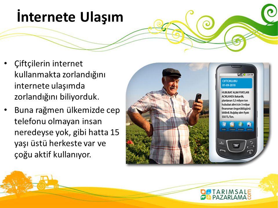 İnternete Ulaşım Çiftçilerin internet kullanmakta zorlandığını internete ulaşımda zorlandığını biliyorduk.