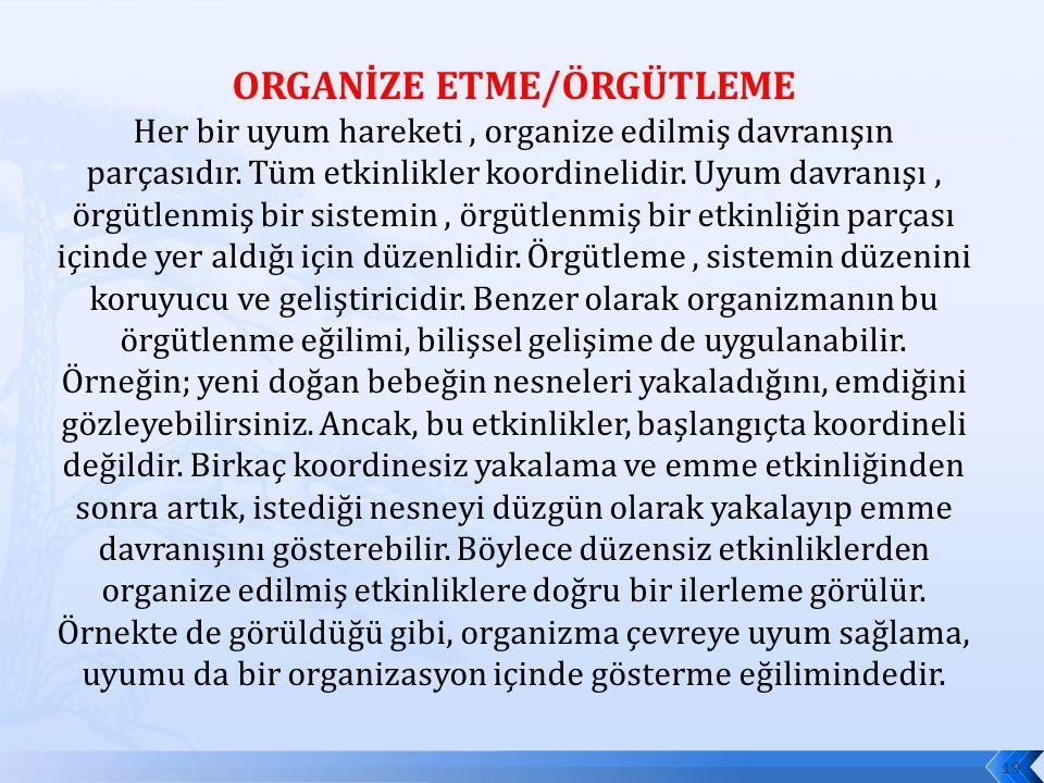 ORGANİZE ETME/ÖRGÜTLEME