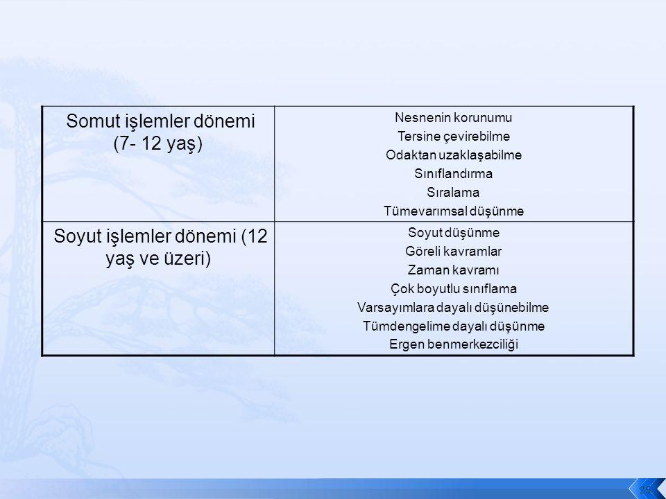 Somut işlemler dönemi (7- 12 yaş)