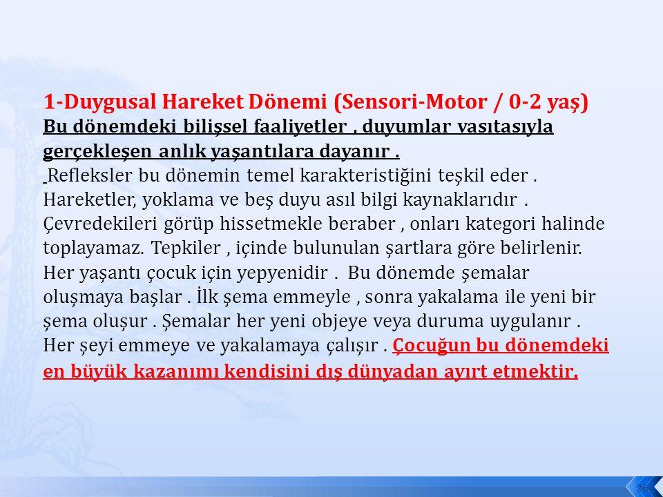 1-Duygusal Hareket Dönemi (Sensori-Motor / 0-2 yaş) Bu dönemdeki bilişsel faaliyetler , duyumlar vasıtasıyla gerçekleşen anlık yaşantılara dayanır .