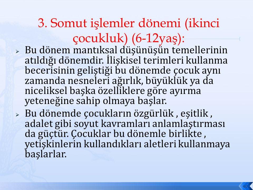 3. Somut işlemler dönemi (ikinci çocukluk) (6-12yaş):