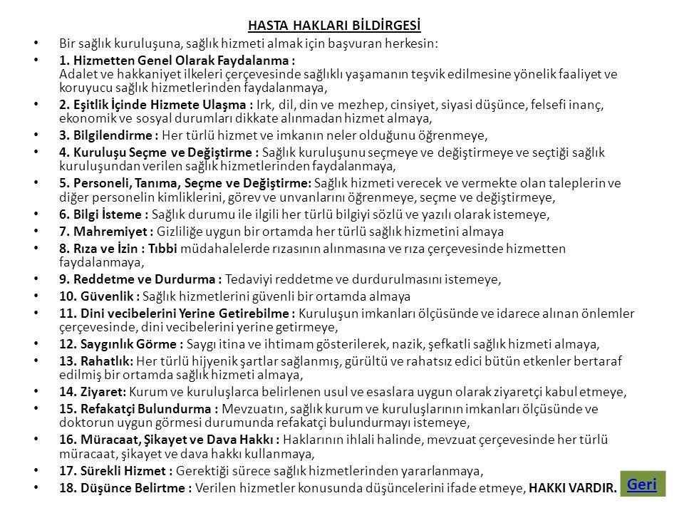 HASTA HAKLARI BİLDİRGESİ