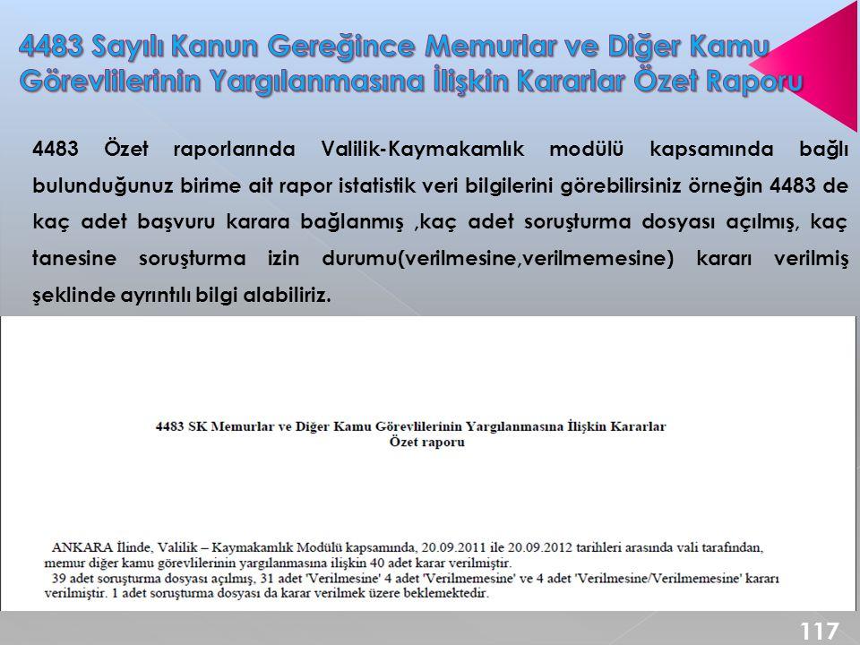 4483 Sayılı Kanun Gereğince Memurlar ve Diğer Kamu Görevlilerinin Yargılanmasına İlişkin Kararlar Özet Raporu