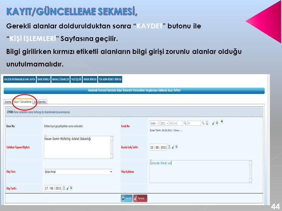 KAYIT/GÜNCELLEME SEKMESİ,