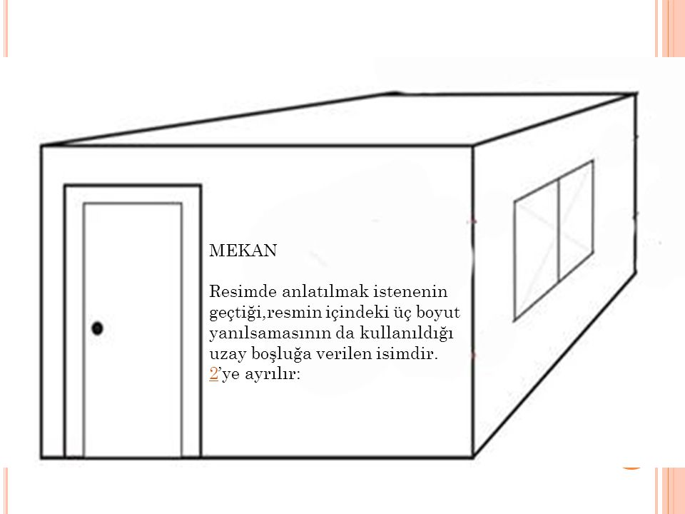 MEKAN Resimde anlatılmak istenenin geçtiği,resmin içindeki üç boyut yanılsamasının da kullanıldığı uzay boşluğa verilen isimdir.