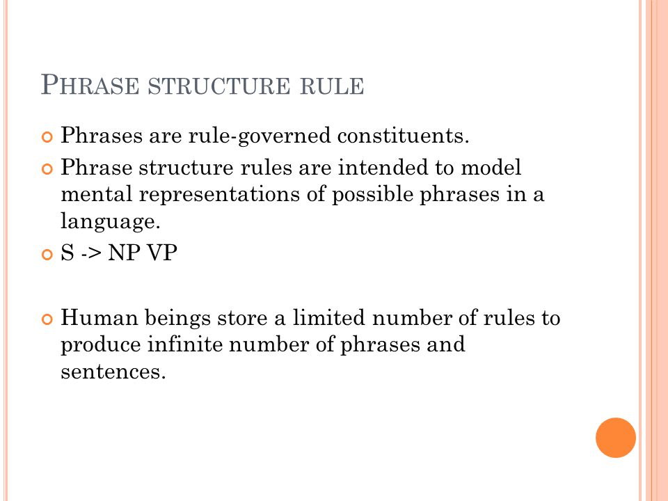 Phrase structure rule Phrases are rule-governed constituents.