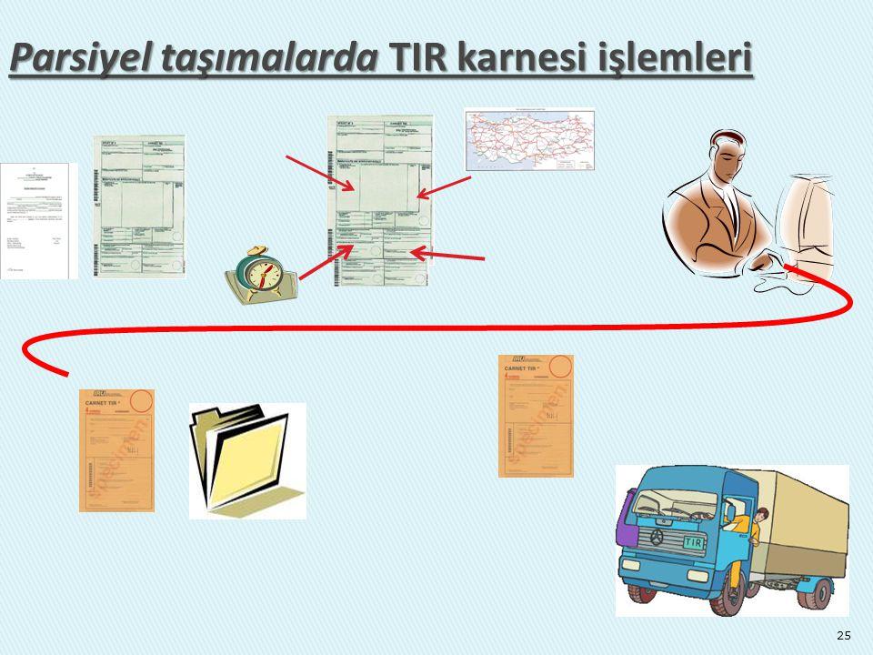 Parsiyel taşımalarda TIR karnesi işlemleri