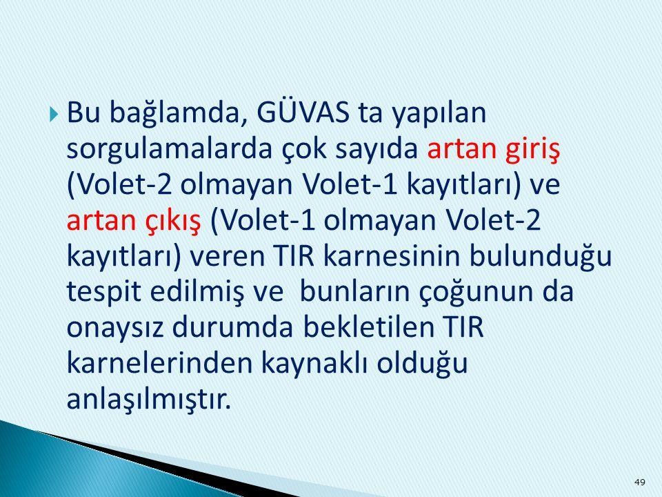 Bu bağlamda, GÜVAS ta yapılan sorgulamalarda çok sayıda artan giriş (Volet-2 olmayan Volet-1 kayıtları) ve artan çıkış (Volet-1 olmayan Volet-2 kayıtları) veren TIR karnesinin bulunduğu tespit edilmiş ve bunların çoğunun da onaysız durumda bekletilen TIR karnelerinden kaynaklı olduğu anlaşılmıştır.