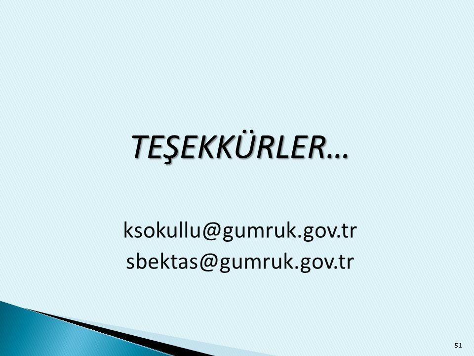 TEŞEKKÜRLER… ksokullu@gumruk.gov.tr sbektas@gumruk.gov.tr