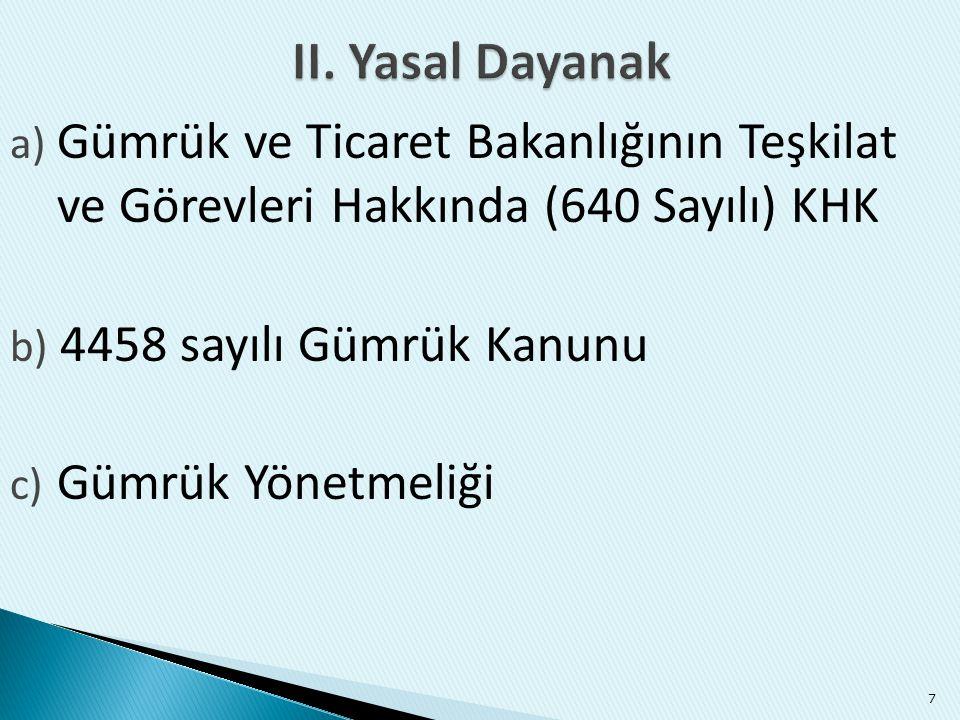 II. Yasal Dayanak Gümrük ve Ticaret Bakanlığının Teşkilat ve Görevleri Hakkında (640 Sayılı) KHK. 4458 sayılı Gümrük Kanunu.