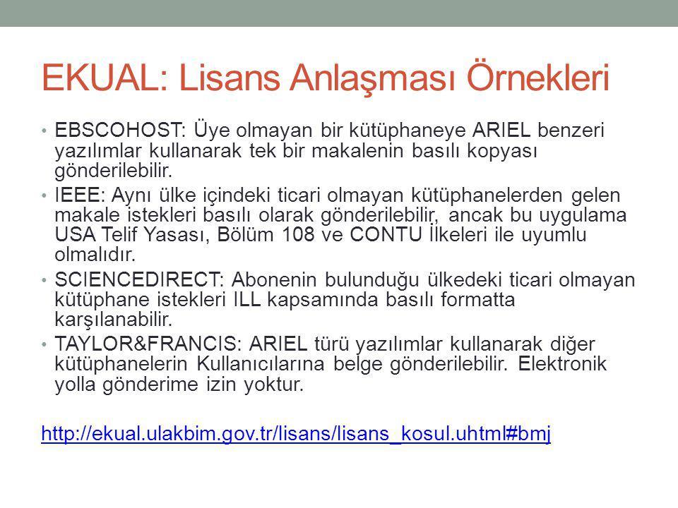 EKUAL: Lisans Anlaşması Örnekleri