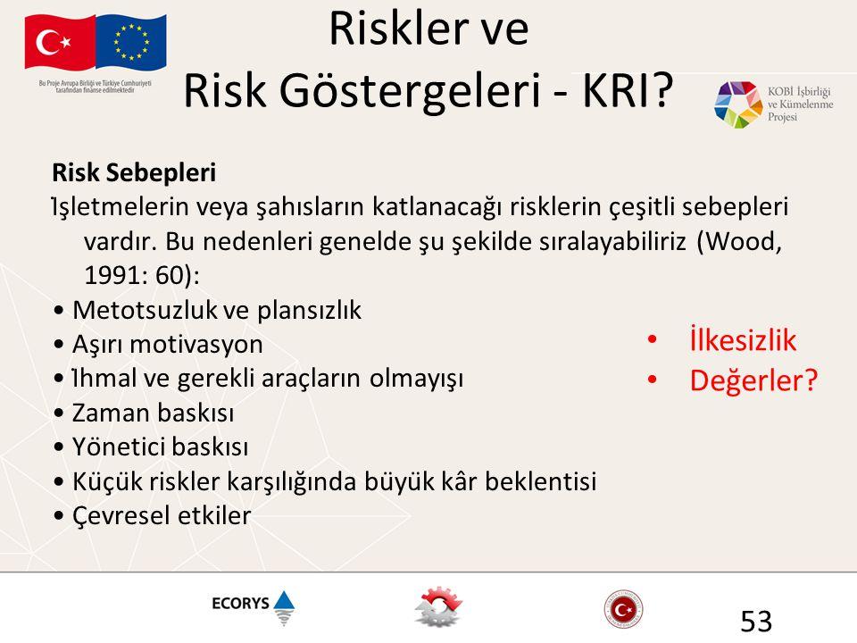 Riskler ve Risk Göstergeleri - KRI