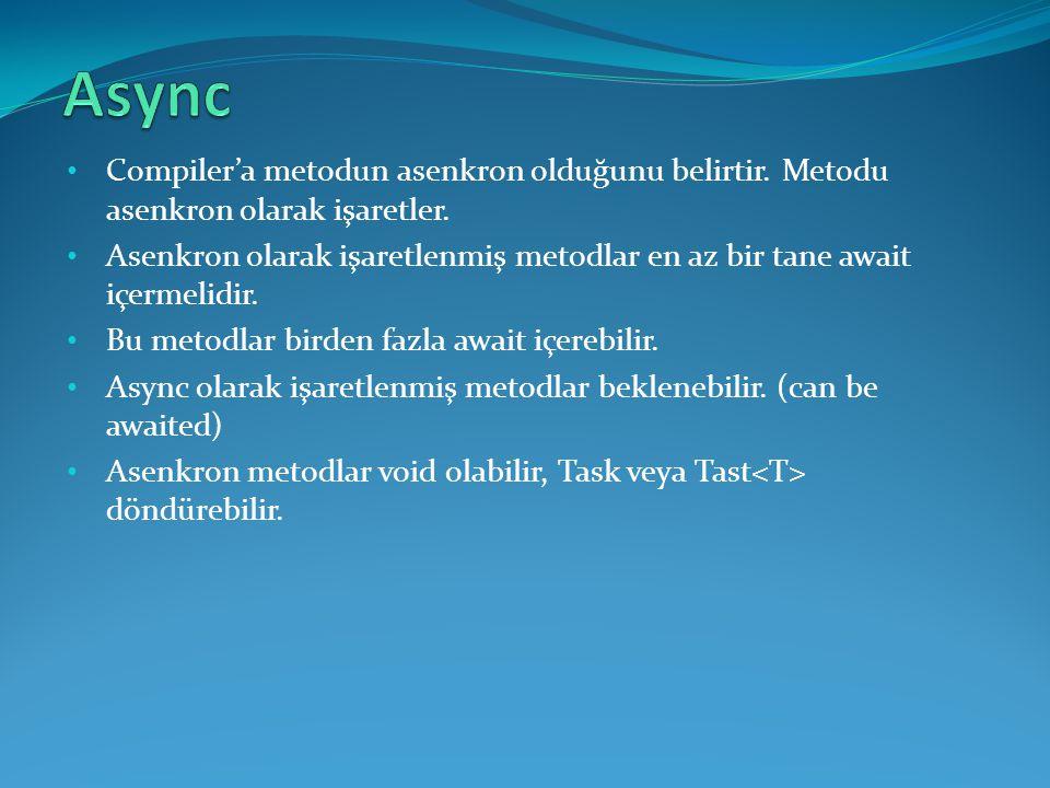 Async Compiler'a metodun asenkron olduğunu belirtir. Metodu asenkron olarak işaretler.