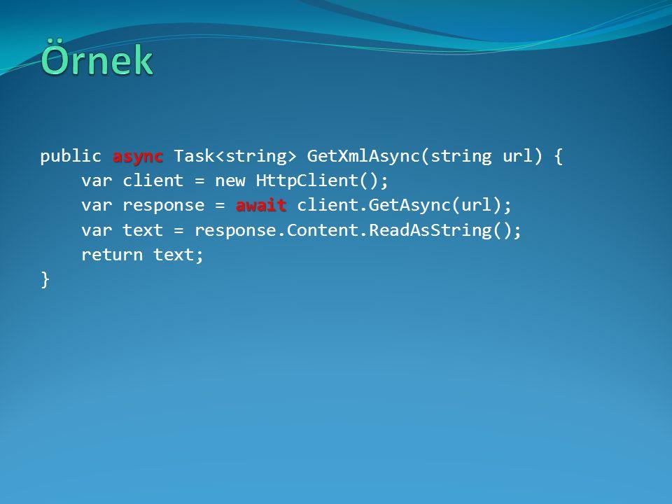 Örnek public async Task<string> GetXmlAsync(string url) {