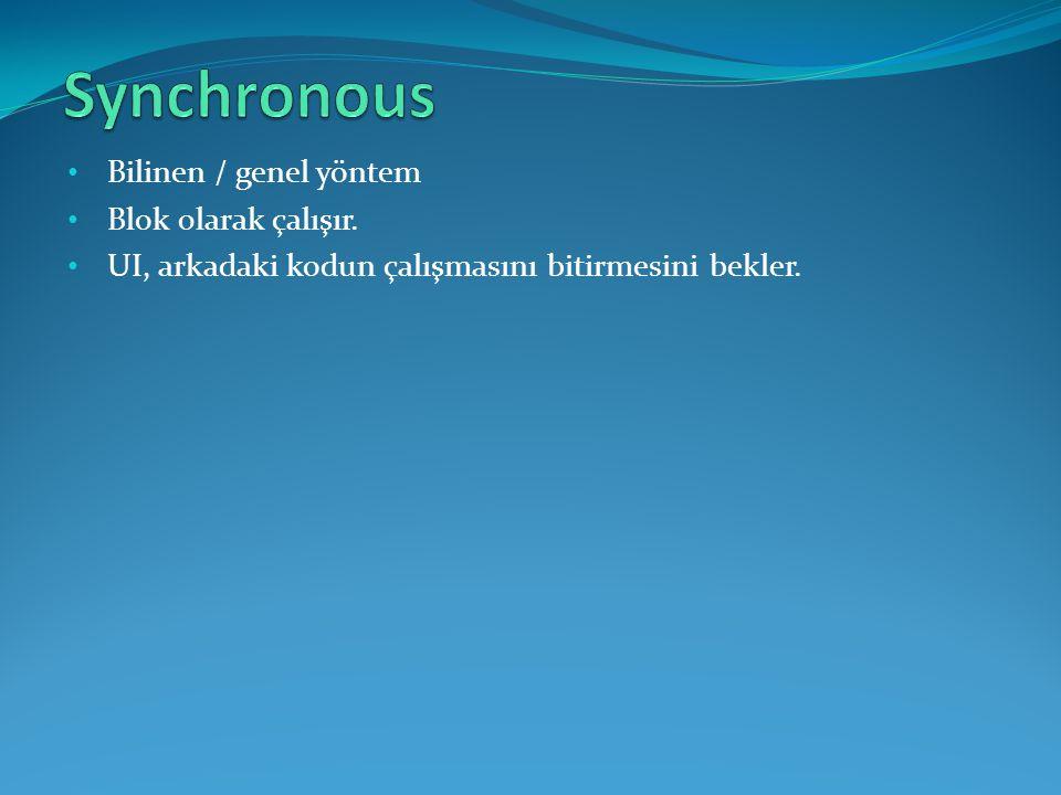 Synchronous Bilinen / genel yöntem Blok 0larak çalışır.
