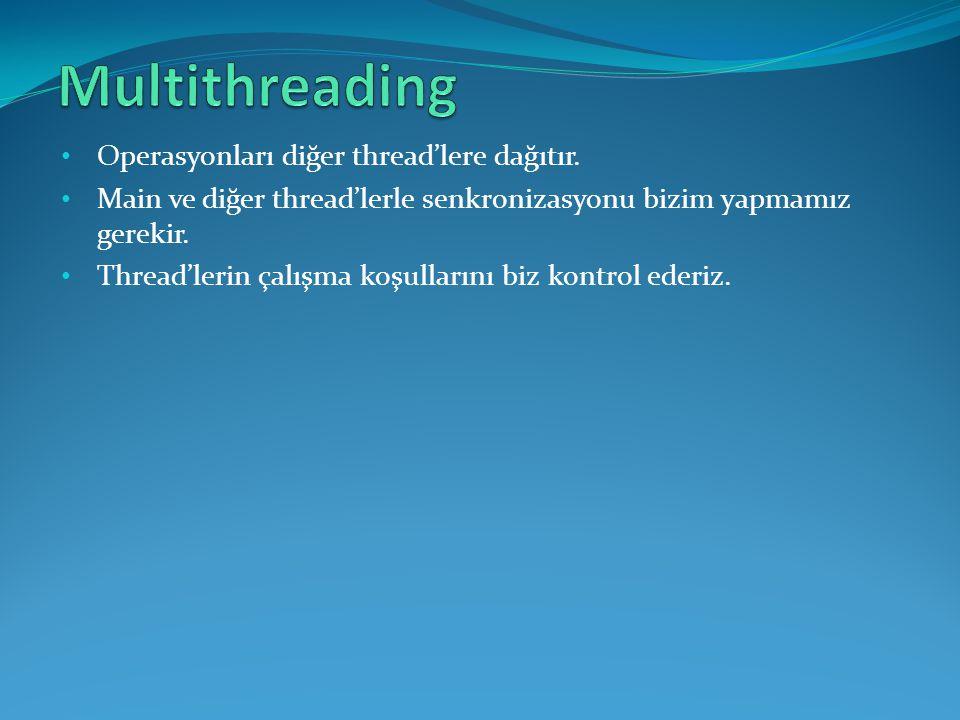 Multithreading Operasyonları diğer thread'lere dağıtır.