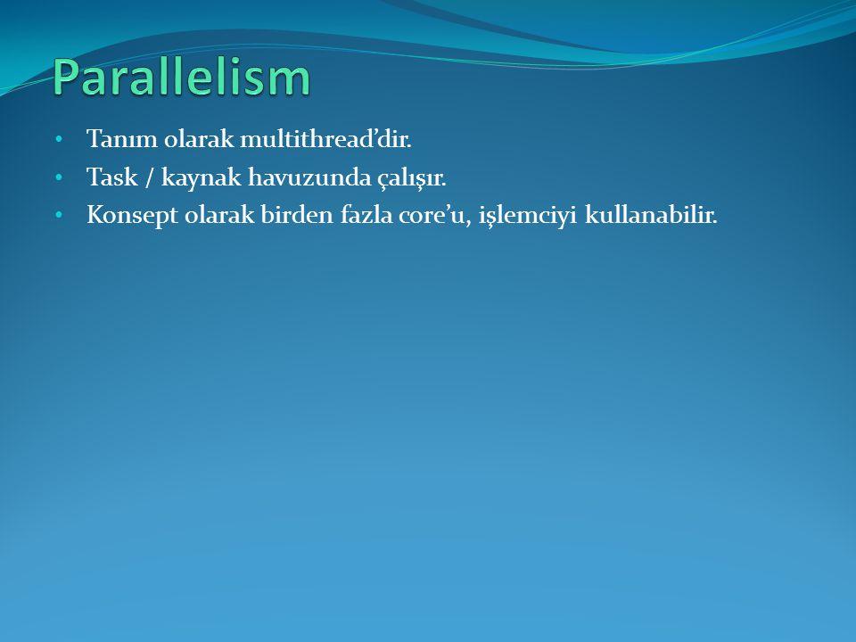 Parallelism Tanım olarak multithread'dir.