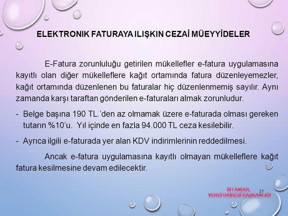 Elektronik faturaya ilişkin CEZAİ MÜEYYİDELER