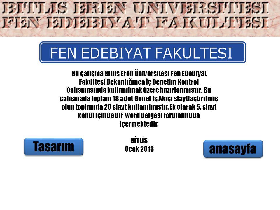 Bu çalışma Bitlis Eren Üniversitesi Fen Edebiyat Fakültesi Dekanlığınca İç Denetim Kontrol Çalışmasında kullanılmak üzere hazırlanmıştır. Bu çalışmada toplam 18 adet Genel İş Akışı slaytlaştırılmış olup toplamda 20 slayt kullanılmıştır. Ek olarak 5. slayt kendi içinde bir word belgesi forumunuda içermektedir.