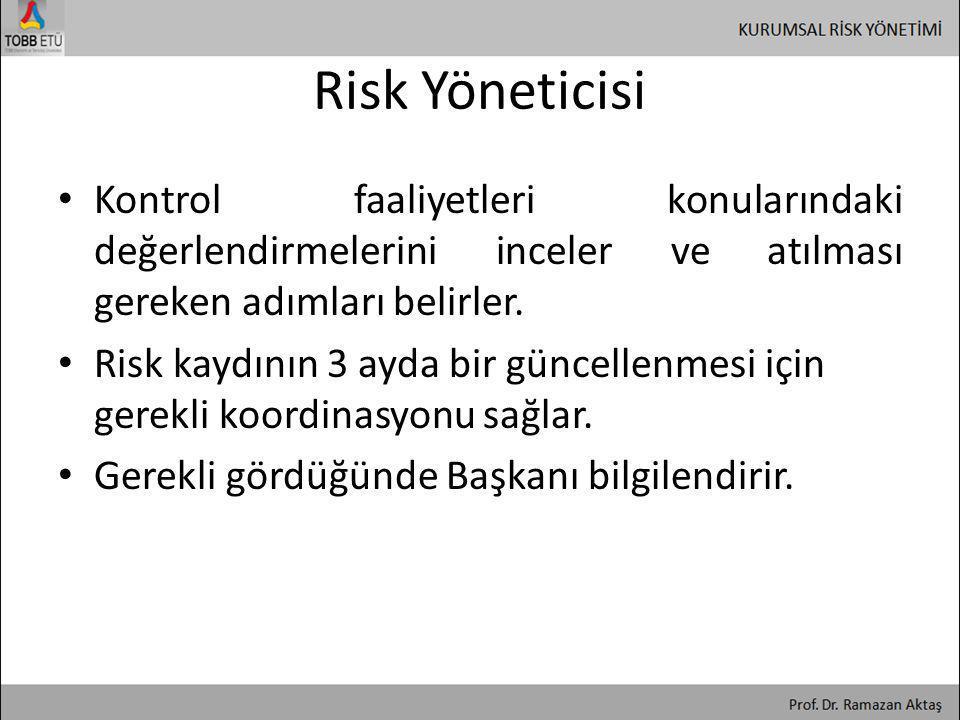 Risk Yöneticisi Kontrol faaliyetleri konularındaki değerlendirmelerini inceler ve atılması gereken adımları belirler.