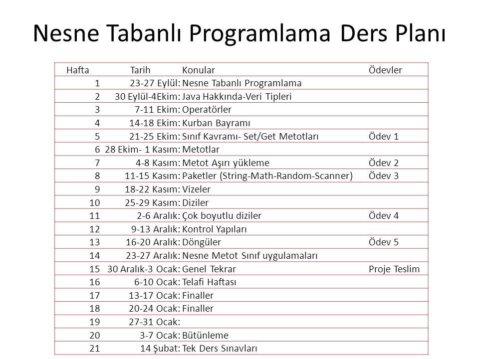 Nesne Tabanlı Programlama Ders Planı