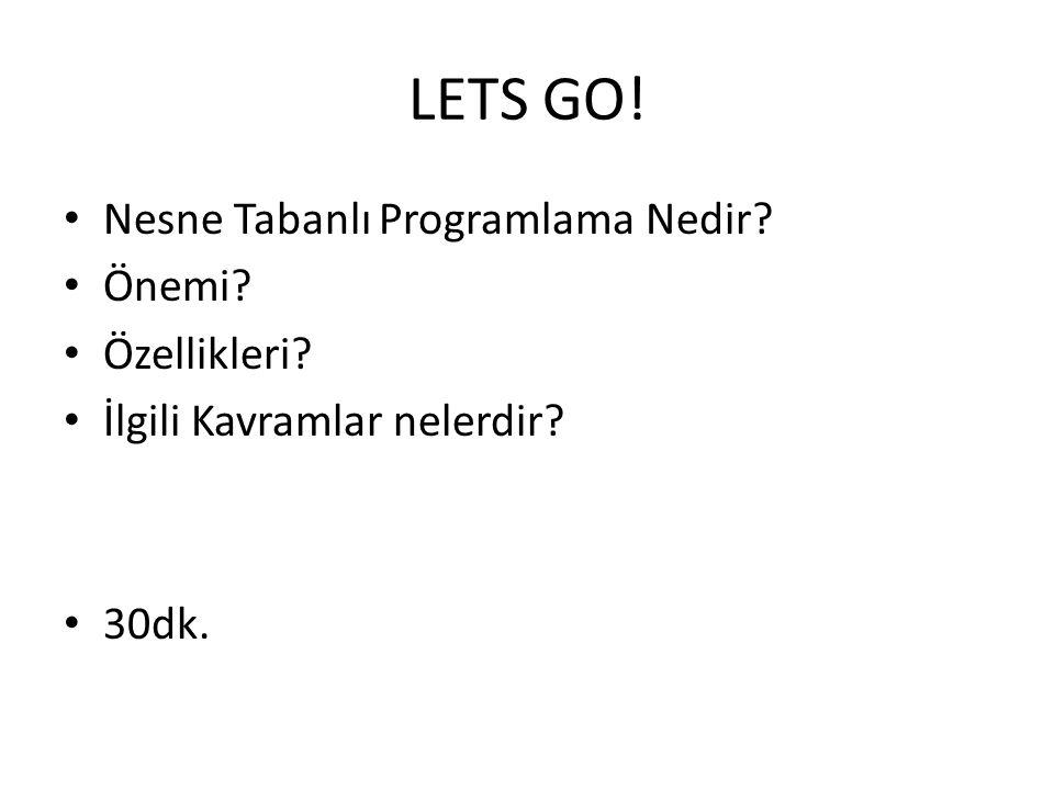 LETS GO! Nesne Tabanlı Programlama Nedir Önemi Özellikleri
