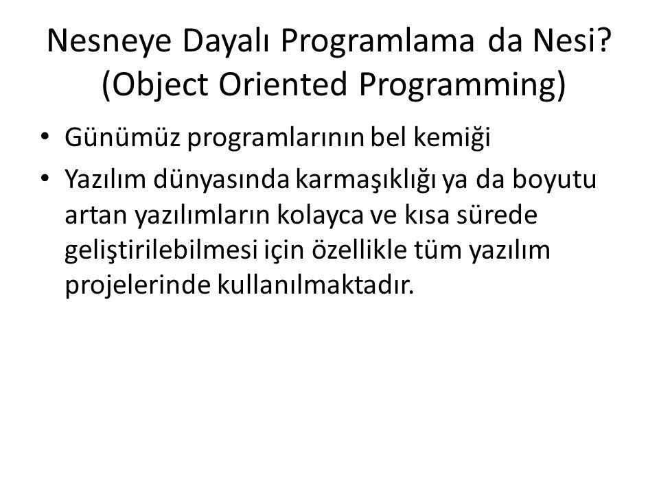 Nesneye Dayalı Programlama da Nesi (Object Oriented Programming)