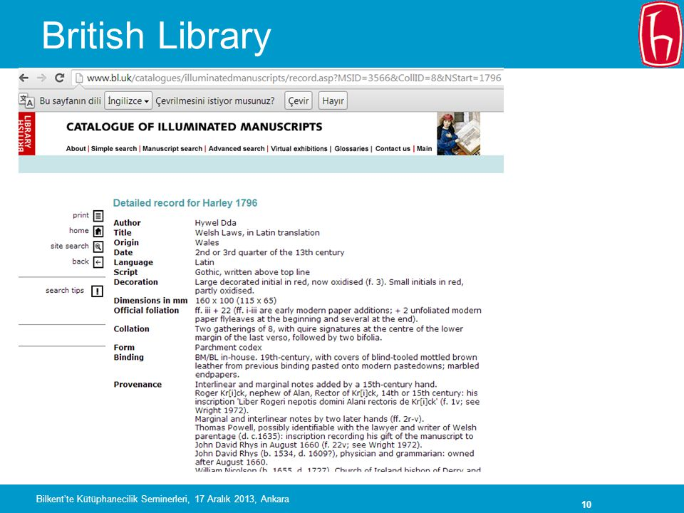 British Library Bilkent'te Kütüphanecilik Seminerleri, 17 Aralık 2013, Ankara