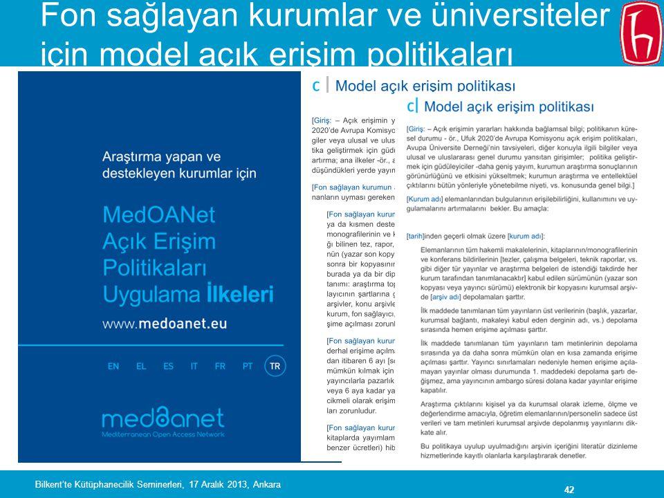 Fon sağlayan kurumlar ve üniversiteler için model açık erişim politikaları