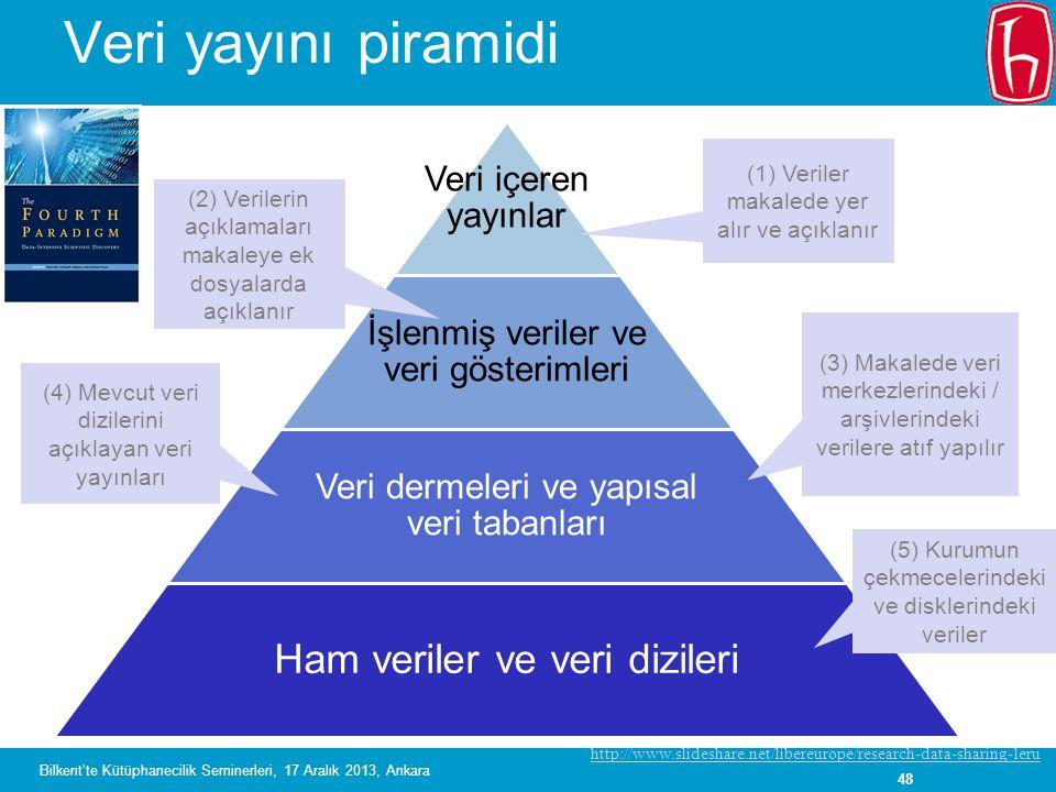 Veri yayını piramidi Ham veriler ve veri dizileri Veri içeren yayınlar