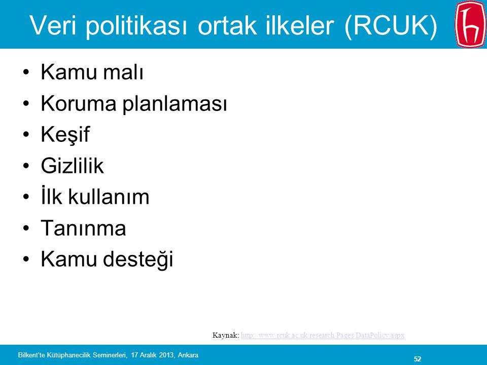 Veri politikası ortak ilkeler (RCUK)