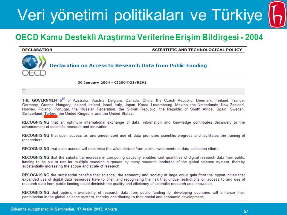 Veri yönetimi politikaları ve Türkiye