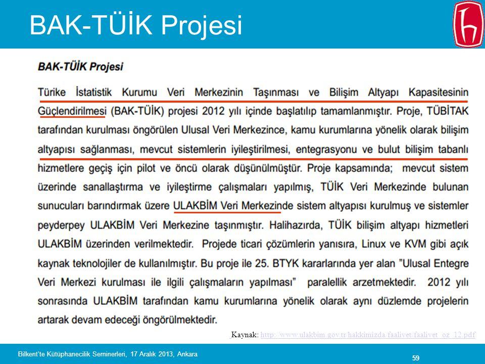 BAK-TÜİK Projesi Kaynak: http://www.ulakbim.gov.tr/hakkimizda/faaliyet/faaliyet_oz_12.pdf.