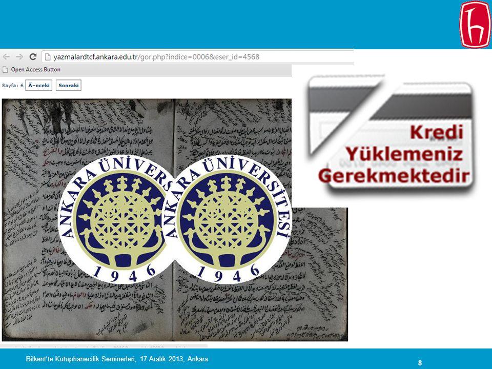 Bilkent'te Kütüphanecilik Seminerleri, 17 Aralık 2013, Ankara