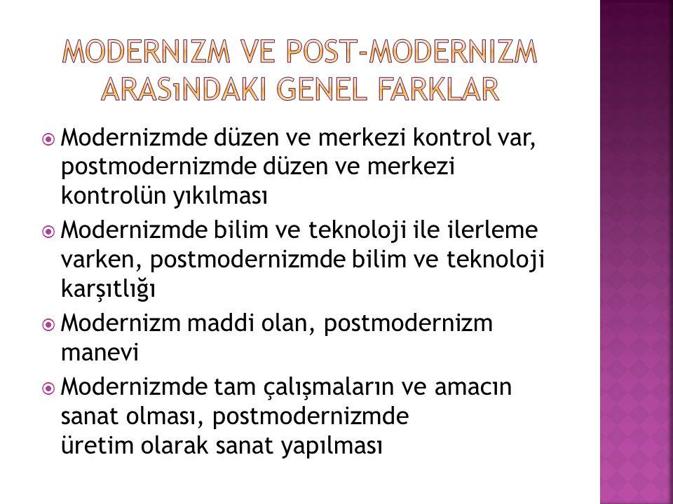 Modernizm ve Post-Modernizm arasındaki genel farklar