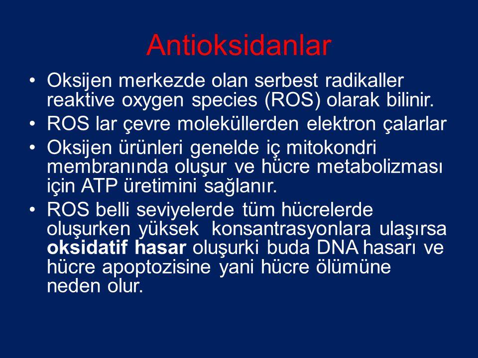 Antioksidanlar Oksijen merkezde olan serbest radikaller reaktive oxygen species (ROS) olarak bilinir.