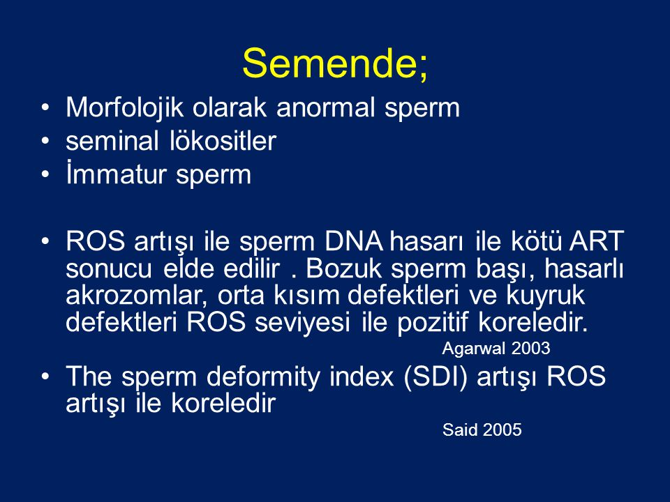 Semende; Morfolojik olarak anormal sperm seminal lökositler