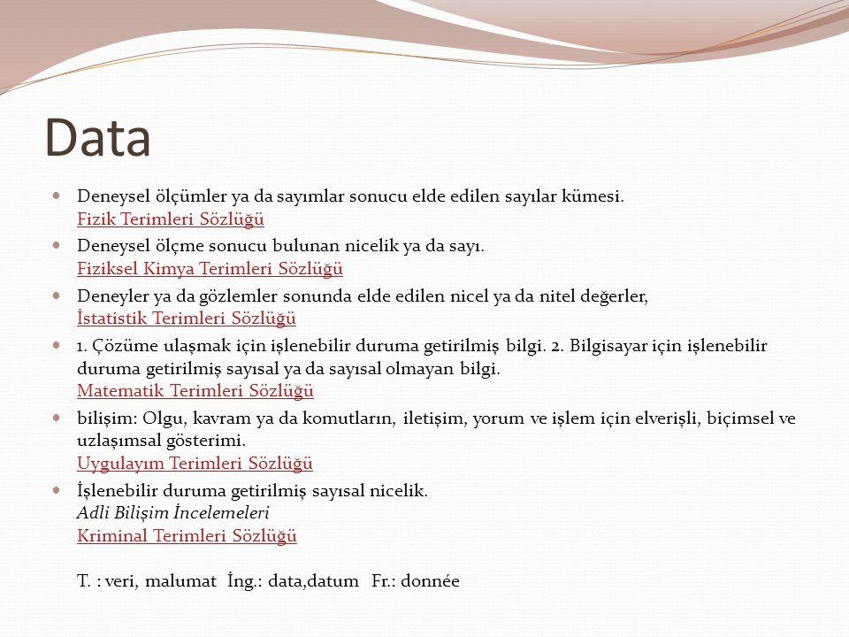 Data Deneysel ölçümler ya da sayımlar sonucu elde edilen sayılar kümesi. Fizik Terimleri Sözlüğü.