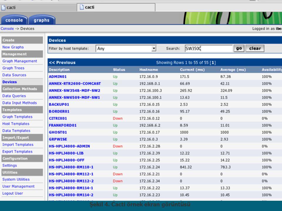 Şekil 4. Cacti örnek ekran görüntüsü