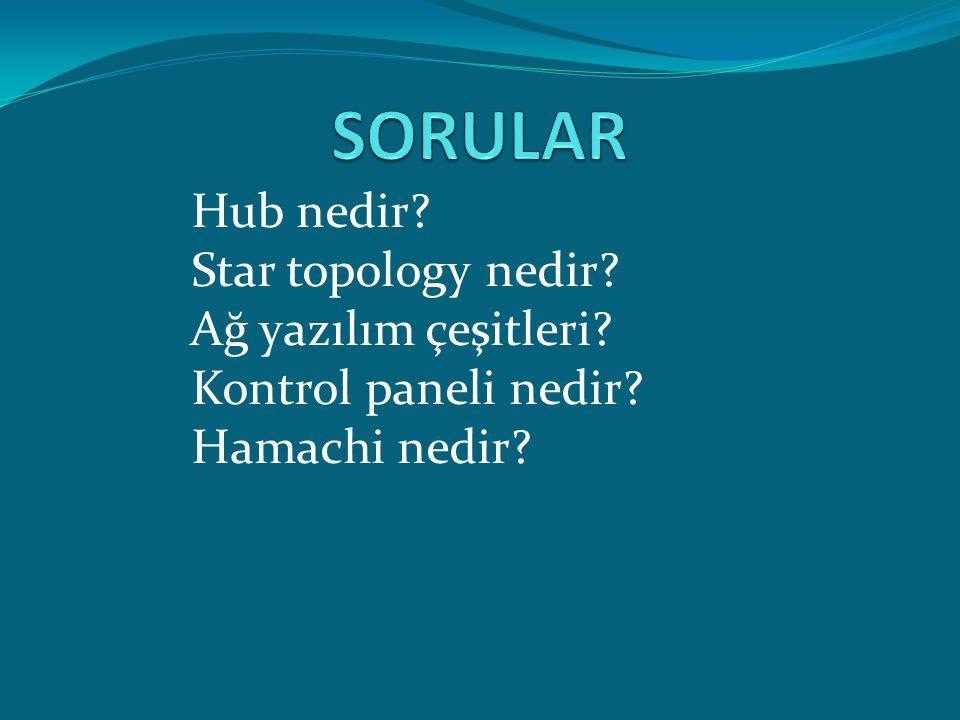 SORULAR Hub nedir Star topology nedir Ağ yazılım çeşitleri
