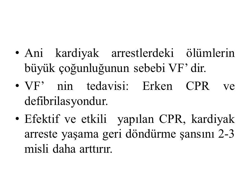 Ani kardiyak arrestlerdeki ölümlerin büyük çoğunluğunun sebebi VF' dir.