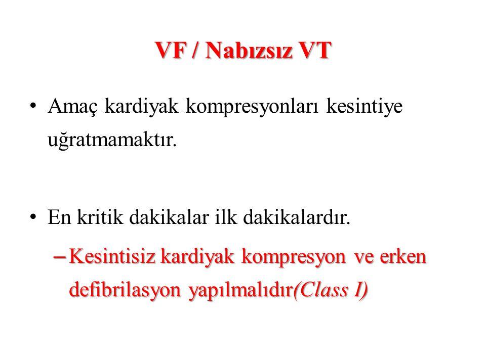 VF / Nabızsız VT Amaç kardiyak kompresyonları kesintiye uğratmamaktır.