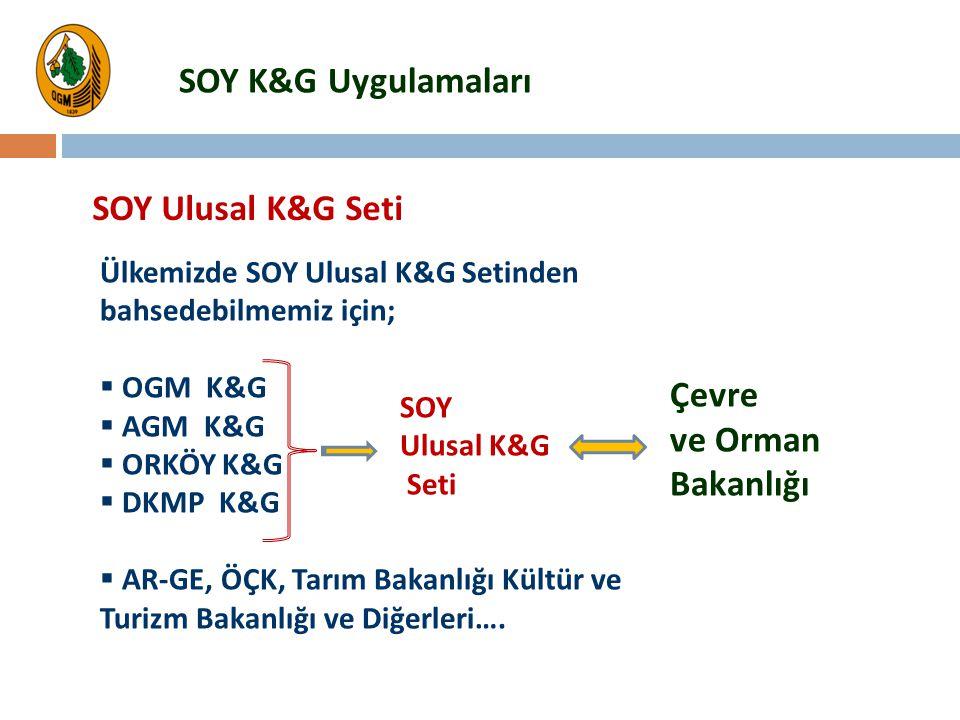 SOY K&G Uygulamaları SOY Ulusal K&G Seti Çevre ve Orman Bakanlığı