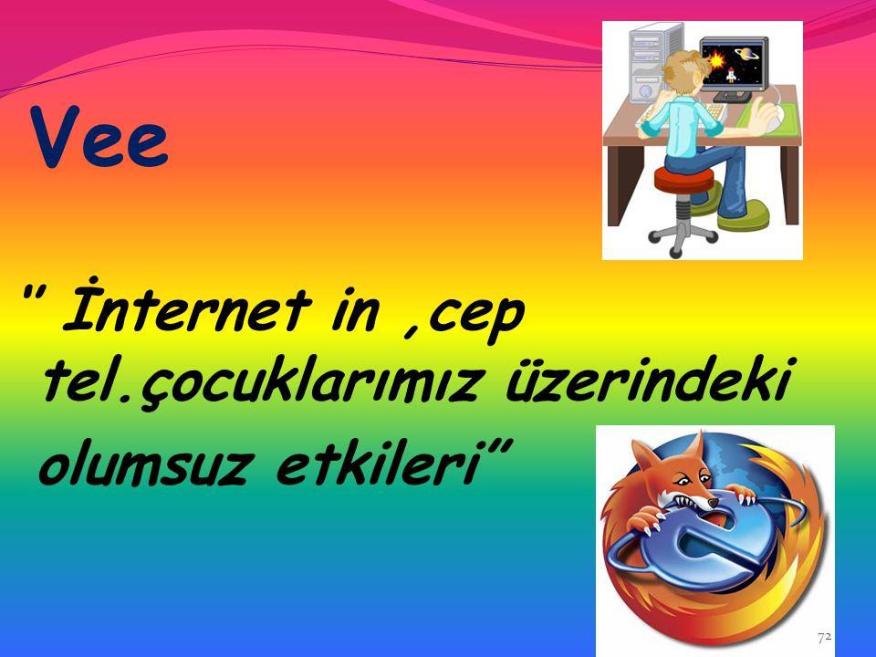 Vee '' İnternet in ,cep tel.çocuklarımız üzerindeki olumsuz etkileri