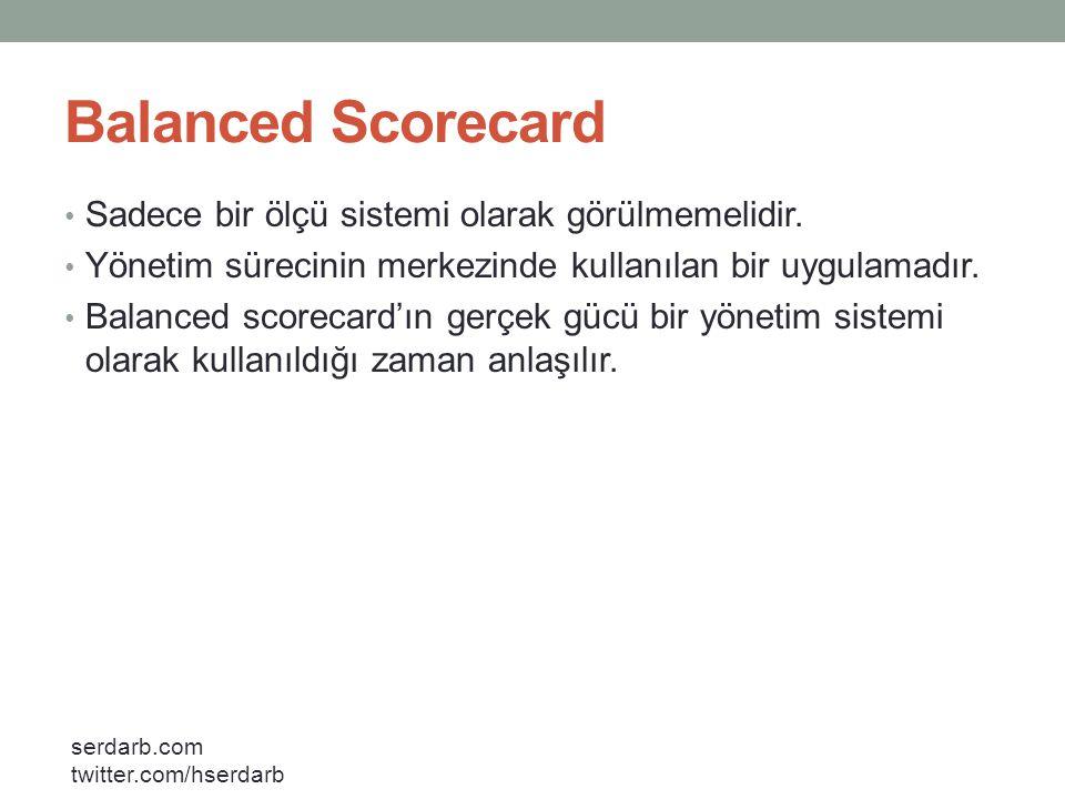 Balanced Scorecard Sadece bir ölçü sistemi olarak görülmemelidir.