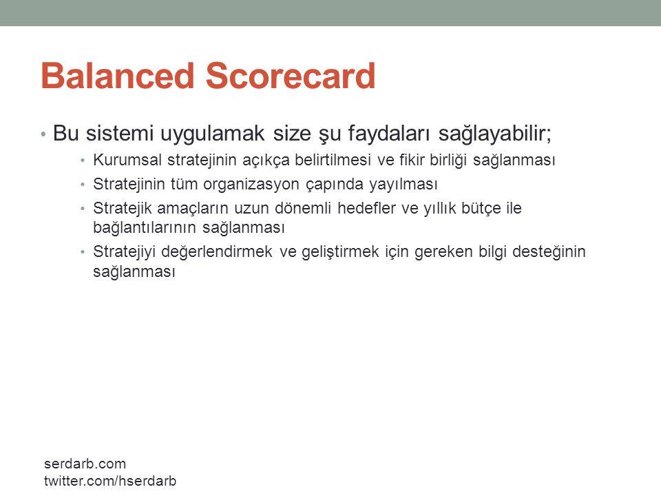 Balanced Scorecard Bu sistemi uygulamak size şu faydaları sağlayabilir; Kurumsal stratejinin açıkça belirtilmesi ve fikir birliği sağlanması.
