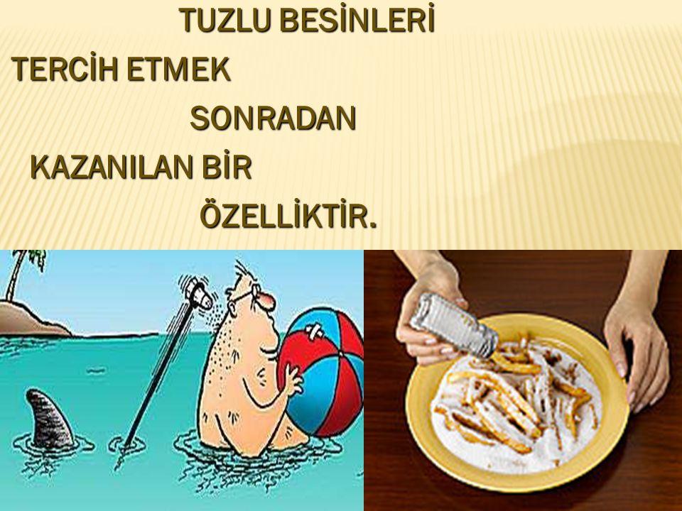 TUZLU BESİNLERİ TERCİH ETMEK SONRADAN KAZANILAN BİR ÖZELLİKTİR. .