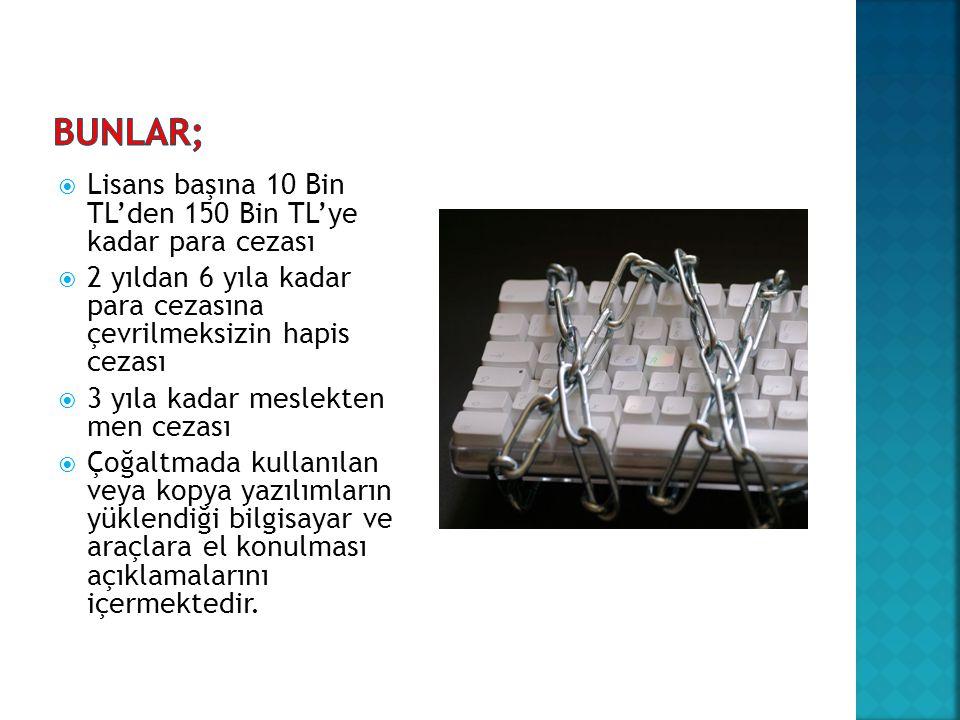Bunlar; Lisans başına 10 Bin TL'den 150 Bin TL'ye kadar para cezası